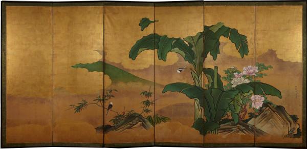 Yano Sesso (1714-1777), Paravento con piante di banano e peonie. Paravento a 6 ante, inchiostro, pigmenti e gofun su fondo oro.