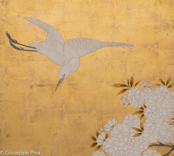 Scuola Kano (metà per. Edo), Paesaggio primaverile con fagiani, part.. Paravento a 6 ante, inchiostro, pigmenti e gofun su fondo oro.