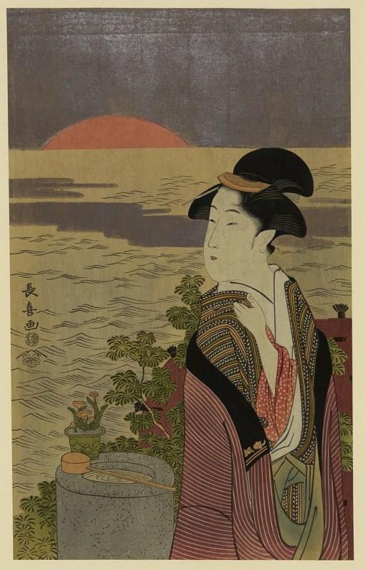 Eishōsai Chōki, Hatsu hinode (1790), ukiyoe.