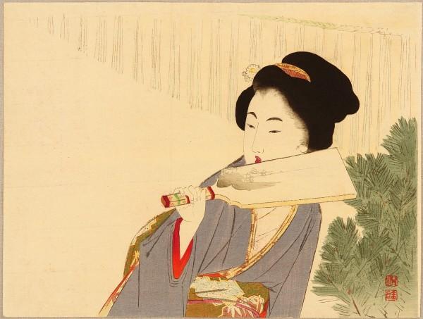 Takeuchi Keishu (1861-1942), Hagoita (1894 circa), shin hanga. Lo hagoita è simbolo del Nuovo Anno.