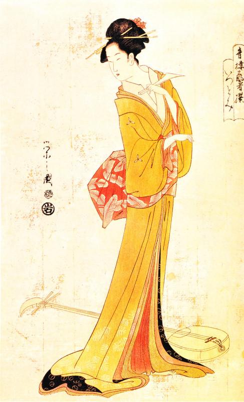 Hosoda Eishi (1756-1829), La cortigiana Tsutomi con lo shamisen.