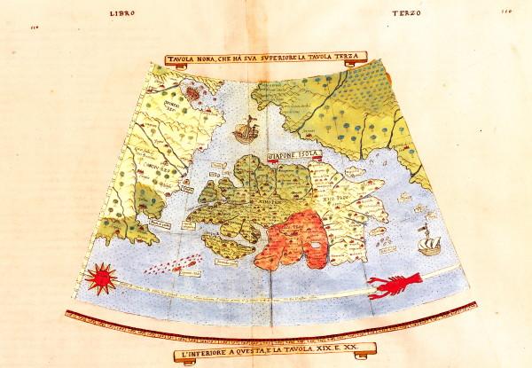 """Urbano Monte, Tavola """"Giapone isola"""".  Dal Trattato universale, descrizione et sito de tutta la terra sinqui conosciuta, 1590. Il manoscritto è conservato presso il Seminario Arcivescovile di Venegono."""