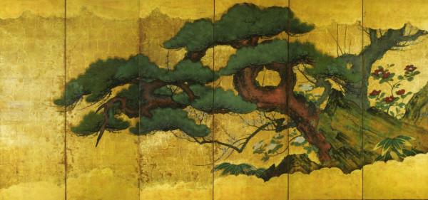 Paravento giapponese a sei ante con i tre amici dell'inverno, periodo Edo, 178 x 376 cm.