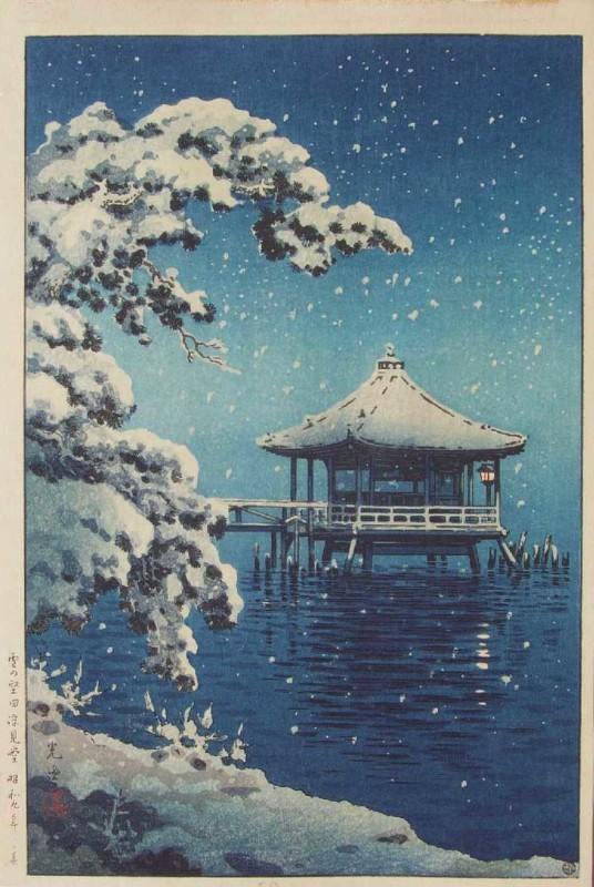 Tsuchiya Koitsu (1870-1949), Neve a Ukimido, Katada, stampa del 1934.